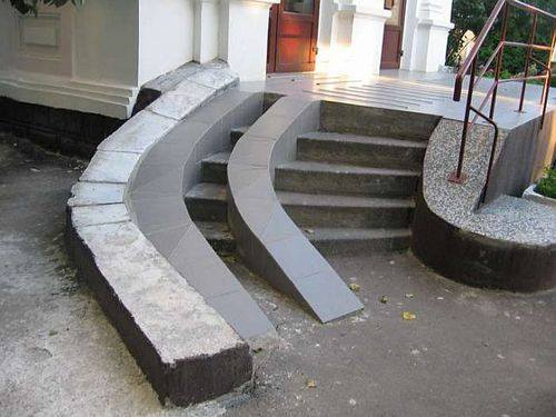 Terrible design for a wheelchair ramp.